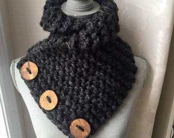 Charcoal Knit Collar
