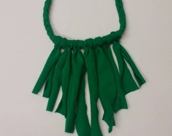 Forest green braided fringe necklace