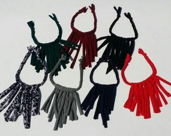 Braided fringe necklaces
