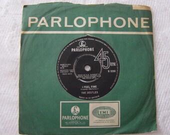 "vintage vinyl,the beatles,i feel fine 7"" single,classic vinyl"