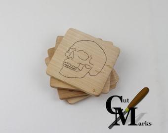 Wooden skull coasters, set of 4
