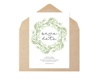 Printable Save the Date - Customised - Foliage Wreath