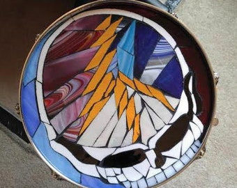 Grateful Dead Table-Steal Your Face-Grateful Dead Mosaic-Drum Table-Dead Head Table-Grateful Dead Art