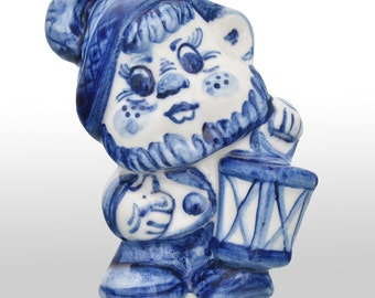 Gzhel Russian Handpainted Porcelain Figurine of folk fairy tale dwarf souvenir from Russia