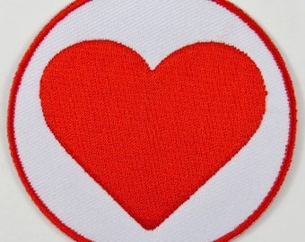 Heart (Red & White) Iron On/ Sew On Cloth Patch Badge Appliqué cybergoth cyber punk goth rocker emo rave nurse doctor medical Size: 6.8cm