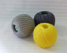 Cotton crochet thread, Cotton yarn, crochet tread, 3 balls mix, dark grey, light grey, yellow 25 g per ball