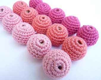 Pink Crochet beads 15 PC/ Baby teething beads/ Pink mix beads/ DIY crochet beads/ Teething ring beads/ ECO-friendly beads/ Handmade crochet