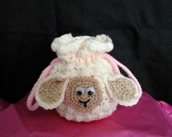 Little Girl Crochet Lamb Handbag med.