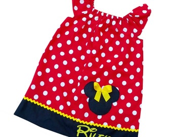 Minnie Mouse Flutter Sleeve Peasant Dress with Embroidered Name.