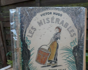 Book les miserables, French literature, French writer, Victor Hugo, pictures stone Falke, ancient book, big book