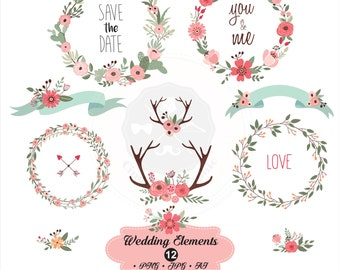 Wedding Elements Clipartwedding Clipartbridal Shower Clipartfloral Clipartdigital Download