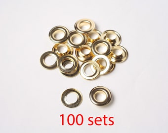 Metal Eyelets Grommets With Washers, 13mm Barrel Diameter Gold Plated Metal Eyelets, Pack of 100 sets