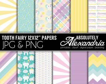 Tooth Fairy Digital Papers - Personal & Commercial Use - Fairy Paper, Teeth Graphics, Patterns, Toothbrush Scrapbook Page Kit