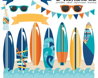 Surfer Dude Digital Clipart - Personal & Commercial Use - Surfing Clipart, Summer Graphics, Beach Images Yellow, Orange, Blue