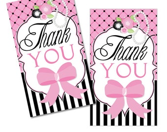Pink Parisian Digital Girls Birthday Party Printable Chic Paris Thank You Favor Tags INSTANT DOWNLOAD