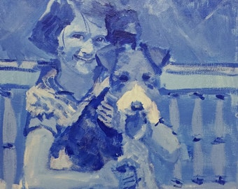 Blue Girl and Dog