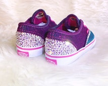 Purple/Teal Sparkle Vans Toddler Swarovski Crystal AB 001 Adorned Shoes