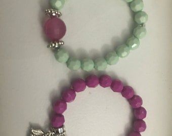 Grape and mint kids bead bracelet