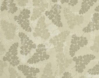 BTHY - Fairmont Park by Lonni Rossi for Andover Fabrics, Pattern #6007-MC Khaki Ferns, by the HALF Yard