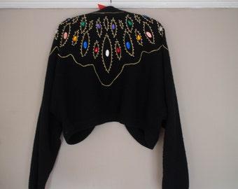 80s bejeweled shrug cardigan