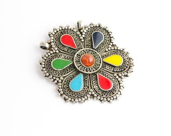 Oxidized silver ornate pendant