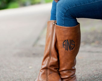 Monogrammed Boots / Monogram Fall Boots / Women's monogram Boots