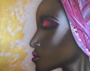 "African, Original Acrylic on Canvas  , by Tomer Sharabani ""37 ""31 (95X80 cm)"
