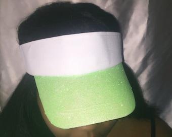 Green glitter visor hat