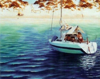 Custom Boat Painting Yacht Painting Family Painting Custom Art Made to Order Original Art Acrylic Painting Canvas Art Australian Art