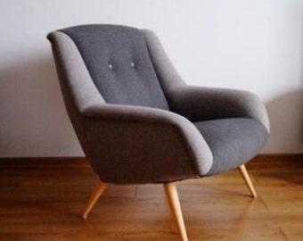 UPHOLSTERED Vintage DANISH Armchair Design Unique Loft Modern Fully Restored Mid-Century