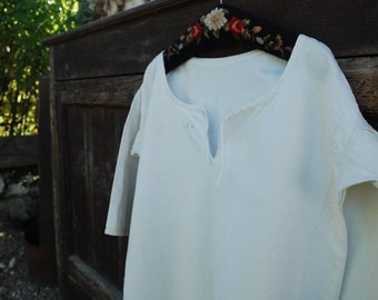 French 19th C ladies nightshirt hemp and linen monogrammed I.