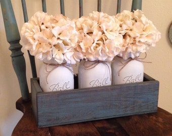Fall 3 Piece, Mason Jar Centerpiece, Rustic Home Decor, Farmhouse Decor, Mason Jar Planters, Decorative Trays