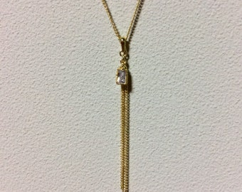 Rectangle and chain tassel necklace