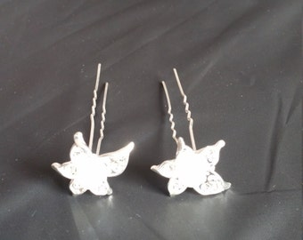 Pearl and diamond flower hair pins  (pair)