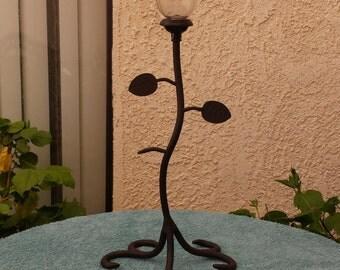 Vintage electric lamp refurbished into solar lamp
