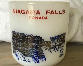 Vintage Souvenir Milk Glass Federal Mug Niagara Falls Canada Collectible