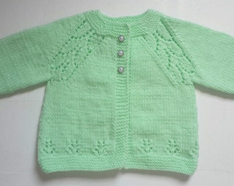 Handmade Hand Knitted Baby Sweater/cardigan 3-6 months in Light Green