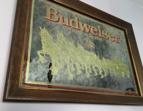 Vintage Budweiser Mirror Gold Clydesdales
