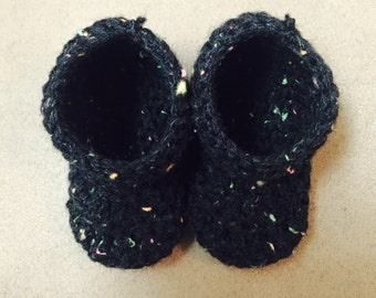 Speckled Baby Booties (Black)