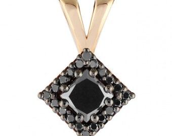 14k GOLD diamond pendant, black diamond pendant