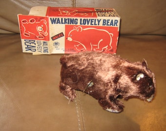 Made in Japan Walking Lovely Bear wind up toy in the box.