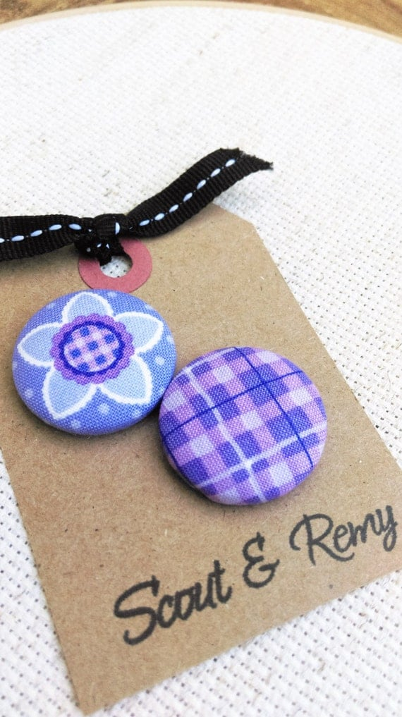 Purple Plaid Floral Needle Minder - 2 in 1 Reversible