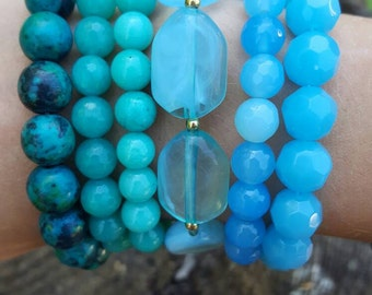 Blue/ Turquoise Stackable Bracelets