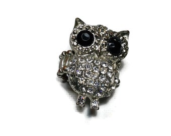 Vintage Owl Ring Stretch Rhinestone Ring Adjustable Owl Ring Vintage Costume Jewelry Statement Ring Owl Jewelry
