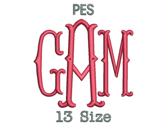 fish tail monogram font embroidery fonts 13 size monogram