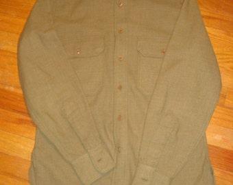 WWII U.S. Army OD Wool shirt 14x33