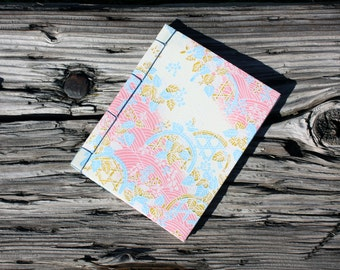Cute 4x5 Handmade Notebook/Sketchbook/Journal - Japanese Stab Binding - Multiple Patterns Available - Gift for Her, Gift for Writer
