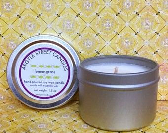 Soy Candle Essential Oil Lemongrass Tin Container Candle Handmade