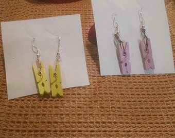 Mini clothespin earrings/ Clothespin earrings/ Unique dangle earrings
