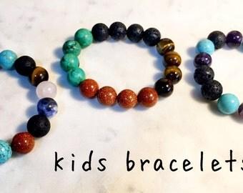 Kids Lava bead diffuser bracelets Turquiose, Goldstone, Agate, Howlite, Rose Quartz